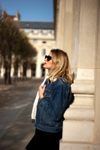 fam jeans,veste en jean fourrée,karine arabian,blog mode,céline vintage,jimmy fairly,joli rouge gradation clarins