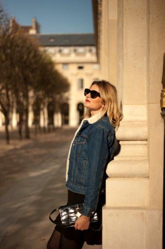 fam jeans,veste en jean fourrée,karine arabian,blog mode,céline vintage,jimmy fairly,joli rouge gradation clarins